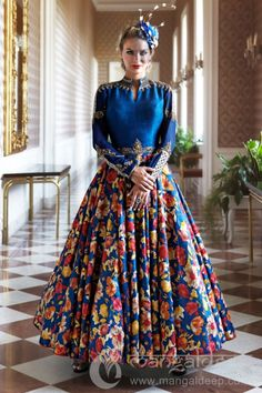 Aesthetic Blue Raw Silk Floral Printed Anarkali  #Blue, #FloralPrint, #AnkleLength