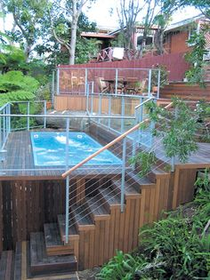 Above Ground Pool Ideas - In the summer, people like spending few hours in the swimming pool. However, you may hate the way your above ground pool looks in your backyard. Swimming Pool Decks, Above Ground Swimming Pools, Small Backyard Pools, Ponds Backyard, In Ground Pools, Above Ground Pool Cost, Above Ground Pond, Oberirdische Pools, Sloped Yard