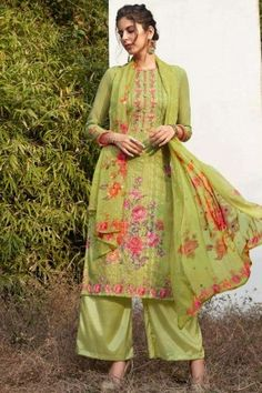 #Pakistani #Dresses - Light green Georgette #Palazzo Suits Online #UK - #Shopkund Pakistani Dresses Online, Salwar Suits Online, Salwar Kameez Online, Designer Salwar Suits, Georgette Fabric, Chiffon Fabric, Dress Meaning, Palazzo Suit, Work Tops