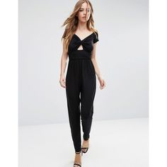 ASOS Bardot Twist Jersey Jumpsuit with Peg Leg (€37) ❤ liked on Polyvore featuring jumpsuits, black, v neck jersey, v neck jumpsuit, v-neck jersey, jump suit and cut-out jumpsuits