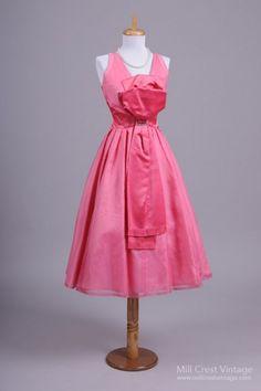 1950's Taffeta Half Bow Vintage Party Dress