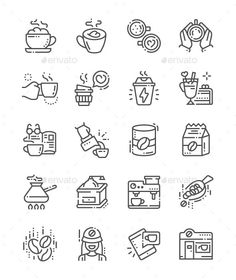 Buy Coffee Line Icons by PalauDesign on GraphicRiver. UI Pixel Perfect Well-crafted Vector Thin Line Icons Grid for Web Graphics and Apps with Editable Str. All Icon, Icon Set, Coffee Line, Coffee Cup, Kitchen Icon, Create Icon, Free Ecommerce, Grid, Simple Icon