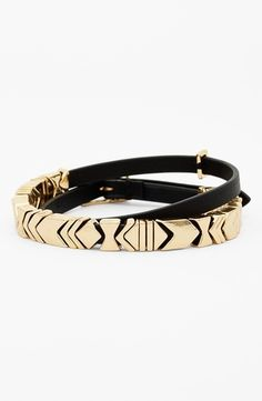 House of Harlow 1960 Chevron Station Leather Wrap Bracelet Black/ Gold from Nordstrom on Catalog Spree