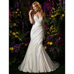 Trumpet/Mermaid V-neck Mikado Chapel Train Wedding Dress