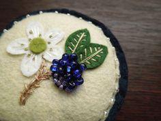 Wild Blackberry Botanical Embroidered Wool Felt Pincushion. $28.00, via Etsy.