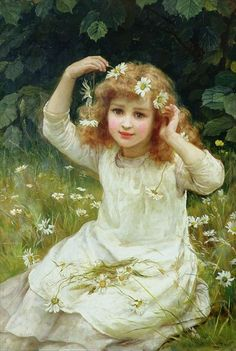 ⊰ Posing with Posies ⊱ paintings of women and flowers - Marguerites by Frederick Morgan (1889)