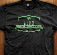 Zion National Park Utah America T-Shirt State Park Gift Hiking Camping Trail Mountain Wild Gift Graphic Family Holiday USA Travel Beautiful