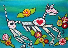 Day of the Dead Dog Original Painting Artist Trading Card Julie Ellison Art