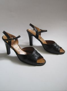 Vintage 1970s Black Open Toe Faux Leather High Heels