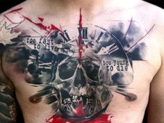trash polka tattoo chest 2