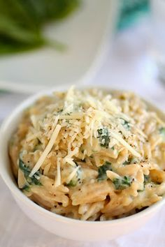 Parmesan and spinach orzo pasta.. she added Asparagus, Cabot White Cheddar and Tony's Seasoning.. It was delicious!