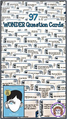 question cards with questions and precepts! Great for writing prompts or discussion. Organized by narrator.Wonder question cards with questions and precepts! Great for writing prompts or discussion. Organized by narrator. Reading Strategies, Reading Activities, Teaching Reading, Reading Comprehension, Wonder Novel, Wonder Book, Book Club Books, The Book, 5th Grade Classroom