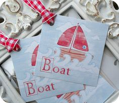 Cottage Chic Boat Tags  Set of 6  Baby by LittlePaperFarmhouse, $5.95