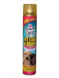 £0.95 - Flowershop Pet Stain And Odour Remover Mousse 500ml  For carpets and upholstery.  Active formula cleans stains fast.  Easy to Use.  Stops fibre rot and colour bleaching. Deters pets from re-offending.  Fast Drying with no residue.  Fresh Fragrance.  Super strength formula.   How to use: Shake can well and spray from 80cm height over the area which needs treating.  Work the foam using a clean colourfast sponge or cloth.  Leave for approx 2 hours (or until dry) and then vacuum.