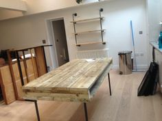Black iron and recycled scaffold boards, dining/work table and shelving for crockery