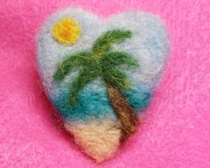 Handmade Needle Felted Tropical Ocean Palm by CuriousKiwiCreations, $16.00