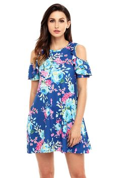 Blue floral print shoulder cut out mini dress Boho Dress, Dress Collection, Fashion Outfits, Casual Outfits, Women's Fashion, Floral Prints, Cold Shoulder Dress, Summer Dresses, Floral Dresses