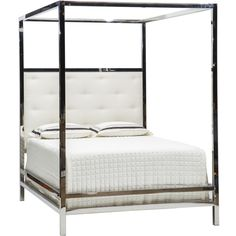 Our newest love - Landon Chrome Canopy Bed!  Perfect for any contemporary and modern home.  It is stunning!