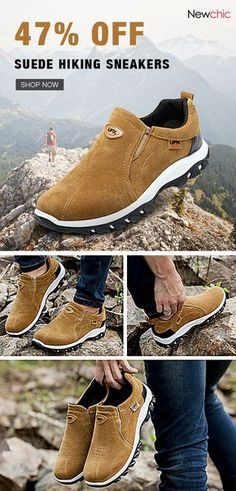 d6ba3f4f64  47%off Men Hiking Suede Breathable Slip Resistant Slip On Outdoor Sneakers
