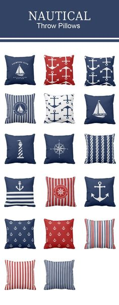 Nautical throw pillows with stripes anchors sailing boats lighthouse – navy blue white or nautical red. Nautical Bathroom Design Ideas, Nautical Theme Decor, Nautical Bedroom, Nautical Bathrooms, Coastal Bedrooms, Nautical Home, Coastal Decor, Nautical Stripes, Nautical Centerpiece