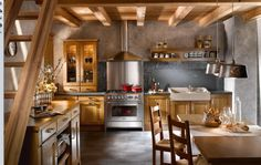 Traditional Kitchen Interior With Bulb Pendant Lamp Shades Wood Dining Table Kitchen Shelves And Wooden Ceiling