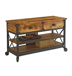 """Rustic Country Antiqued Black/pine Panel Tv Stand for Tvs up to 52"""""""