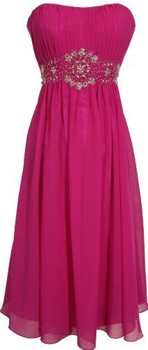 Oh so cute Strapless Chiffon Goddess Gown Prom Dress Formal Knee-Length, Fuchsia and many other colors.  $99.99 from Amazon.