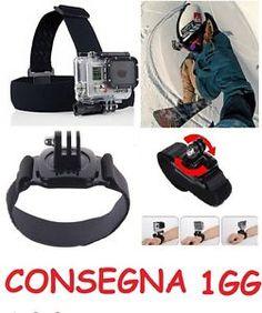 Accessori GoPro Hero 1234 Sj4000 Sj5000 Sj6000 Video Foto Camera Go Pro Black Edition   CONSEGNA 1GG con POSTA1 Tracciabile  Contenuto dell'offerta:  1 Fascia Testa; 1 Fascia Bracciale con supporto girevole di 360° 1 Vitone