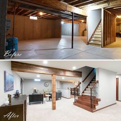 "Kowalske Kitchen & Bath on Instagram: ""Just finished this rustic, yet modern basement. The goal was to create an entertaining space – complete with a bar, lounge seating area and…"" Low Ceiling Basement, Basement House, Basement Kitchen, Basement Apartment, Basement Bedrooms, Basement Workout Room, Wet Basement, Basement Stairs, Basement Bathroom"