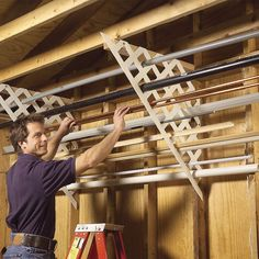 Use plastic lattice for long materials - The Family Handyman - Garage Storage: DIY Tips and Hints Diy Garage Storage, Storage Hacks, Shed Storage, Garage Organization, Storage Solutions, Storage Ideas, Organization Ideas, Workshop Organization, Storage Systems