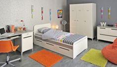 Jugendzimmer Elias I - 8tlg.#Möbel #weiß #Jugendzimmer #Schreibtisch #Nachtkommode #Bett #Kleiderschrank #Kommode