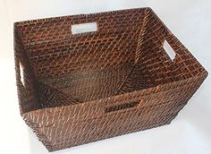ShopOnNet - Rectangular Rattan/Wicker Storage Basket or Storage Bin in Brown Storage Baskets, Wicker Baskets, Rattan, Kitchen Remodel, Brown, Amazon, Entryway, Wicker, Entrance