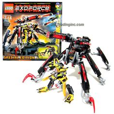 Lego Year 2007 Special Edition Exo-Force Series Mecha Vehicle Figure Set # 7721 - COMBAT CRAWLER X2 with Detachable Battle Machine, Clawed Legs, Prison Capture Cage and Powerful Firing Cannon Plus Ryo Minifigure with Missile-Launching Strike Flyer (Total Pieces: 581)
