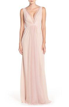 Blush Bridesmaid Dress - Monique Lhuillier Bridesmaids Deep V-Neck Chiffon & Tulle Gown