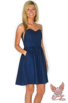 Lauren James Savannah Dress - Introducing the Savannah Dress, straight from the Lauren James fall collection!  This strapless design features a sweetheart neckline, boning throughout the bodice, a full skirt, and pockets. This dress is perfect for a fall wedding, a dinner date or just shopping with the girls. Also available in navy, royal, or crimson.  | available at http://www.envyboutique.us/shop/lauren-james-savannah-dress-3/ |  #Envy #Boutique #fashion #fashiontrends