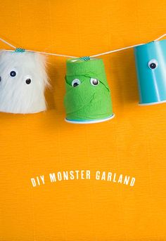diy monster garland - One Charming Party