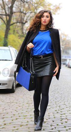 delieta bag + cobalt blue tricot shirt + fake leather skirt