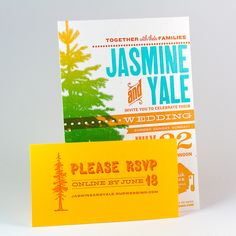 Jasmine & Yale Wedding Invitation, so colorful!