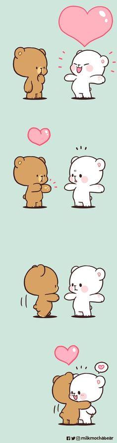 Cute Bear Drawings, Cute Couple Drawings, Cute Cartoon Drawings, Cute Love Gif, Cute Love Pictures, Cute Love Wallpapers, Cute Cartoon Wallpapers, Cute Anime Cat, Chibi Cat