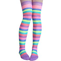 best sneakers 4f302 6c55e Striped over the knee socks in plum, pink, royal blue, lime green,