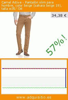 Camel Active - Pantalón slim para hombre, color beige (sahara beige 19), talla w35/ l34 (Ropa). Baja 57%! Precio actual 34,38 €, el precio anterior fue de 79,95 €. https://www.adquisitio.es/camel-active/pantal%C3%B3n-slim-hombre-92