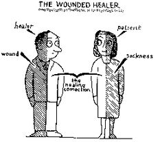 """""""The Wounded Healer"""" is a term used to describe a person, such as a therapist, who has been wounded in the past and has a great capacity for empathy for those who experienced similar wounds. Jungian Psychology, Psychology Student, C G Jung, Wounded Healer, Therapy Activities, Therapy Ideas, Art Therapy, Therapist Office, Emotional Awareness"""