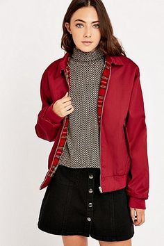 Urban Renewal Vintage Surplus Burgundy Harrington Jacket - Urban Outfitters