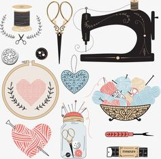Most up-to-date Cost-Free hand sewing illustration Suggestions Vektor: Vintage vector tailor's tools Sewing Art, Hand Sewing, Sewing Crafts, Sewing Projects, Sewing Patterns, Purse Patterns, Sewing Tutorials, Deco Stickers, Printable Stickers