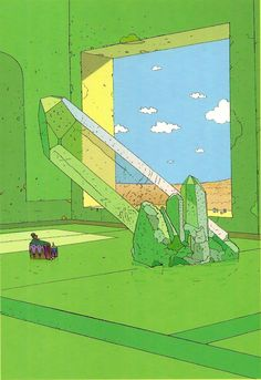 Moebius A room with a view (and a giant crystal) in my dream house Art And Illustration, Illustrations And Posters, Jean Giraud, Arte Sci Fi, Sci Fi Art, Moebius Art, Instalation Art, Ligne Claire, Comic Kunst