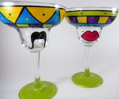Hand Painted Margarita Glasses set of two by TheTattooedButterfly