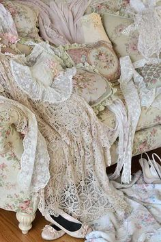 Gorgeousness. After she removed all her Victorian clothes she went to sleep in her shadow lace white handkerchief fabric all the way to the ground in length nightgown and slept until the next day came.  Romance