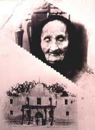 """Señora Candelaria Villanueva ... lived to age of 112. She nursed James Bowie as he lay on his cot during the seige of the Alamo. Until her death at the turn of the century, she made a small living recounting her version of the story and posing for tourists' photos as """"a living survivor of the Alamo"""".  In 1891, the Texas legislature awarded her a pension of twelve dollars a month for being an Alamo survivor and for her work with smallpox victims in San Antonio."""