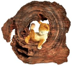 Outdoor Statues Large Size  Top Collection Enchanted Story Garden Kitten Napping in Tree Trunk Outdoor Decor Outdoor Space makeover