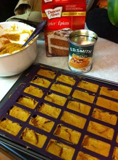 "It's that time of year. With an epicure twist! Love my perfect petites and my scraper spoon! Two ingredient ""cookies"" or in this case, mini loaves can of pumpkin puree or pie filling and one box of spice cake Bake at For 18 - 22 min Epicure Recipes, Cooking Recipes, Two Ingredient Cookies, Epicure Steamer, Pumpkin Delight, Yummy Treats, Yummy Food, Great Recipes, Favorite Recipes"
